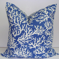 Blue Nautical Pillow.Coral Branches.18x18 inch Lumbar Pillow Cover.Printed Fabric Front and Back.Indoor.Outdoor.Ocean.Sealife