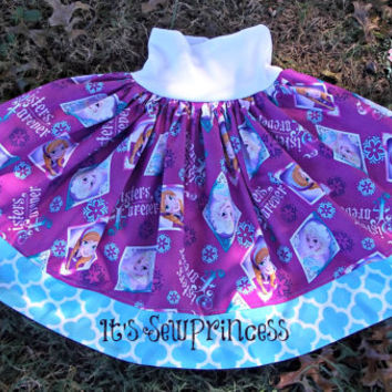 Everyday Play Skirt in Frozen Sisters Fabric/Baby Clothing/Girls Clothing/Boutique Clothing/Yoga waistband skirt/Boutique Skirts