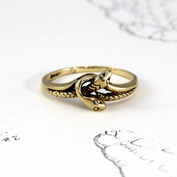 Vintage Snake Ring, 9k Yellow Gold Eternity Knot Double Twined Serpent Love Token, Alternative Engagement Commitment Wedding Stacking Band