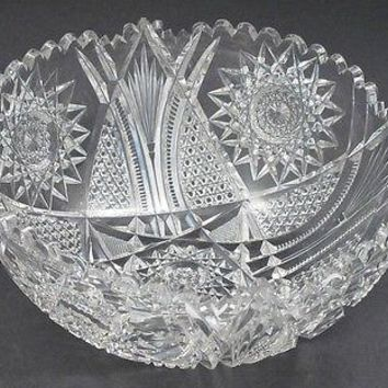 American Brilliant Period hand Cut Glass mouth blown bowl abp  10""