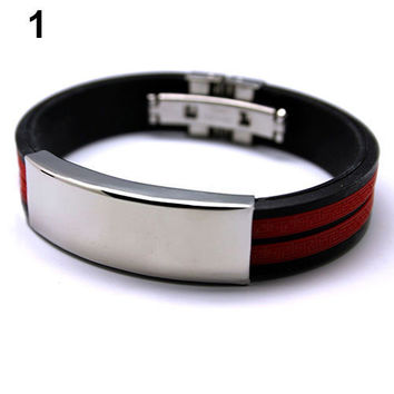 Mens Stainless Rubber and Steel Bracelet