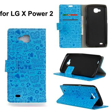 For LG X Power 2 mobile phone pu leather protective case,for LG X Ventute V9 Sweety magic girl pu leather stand cover funda