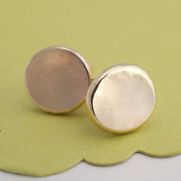 gold flat bar watford stud dipped earrings