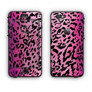 The Hot Pink Cheetah Animal Print Apple iPhone 6 Plus LifeProof Nuud Case Skin Set