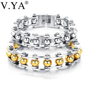 V.YA New Jewelry Metal Stainless Steel Men's Chain Punk Rock Male Bracelet 16.5mm Gold Silver Color Unique Couple Gift Jewelry