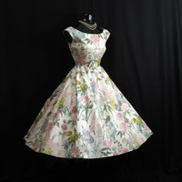 Vintage 1950's 50s White Floral Polished Cotton Party Prom Wedding Sun DRESS