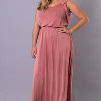 Plus Size Butterfly Maxi Dress - Mauve