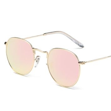 Luxury Brand Design Round Oval Sunglasses Women Men Vintage Retro Mirror Sun Glasses Metal Frame Mirror UV400 Goggles Vintage