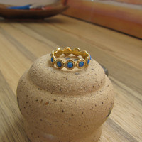 Gold  Opal ring -antique desigen   - 10 Opal stone around -Stacking gold plated    ring - Delicate  ring -Free shipping