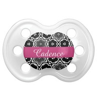 Elegant Black, White & Pink Chic Personalized Name Pacifier