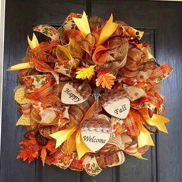 Fall deco mesh wreath   fall mesh wreath with acorns Happy Fall Welcome wreath, front door wreath