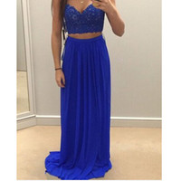 Two Pieces Royal Blue Prom Dress Evening Party Gown pst1048