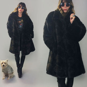 Vintage 1970's 1970's 1980's Faux ONYX And Chocolate Diamond Vegan Checkered Mink Swing Tent Cocoon Cut Coat || Size Medium To Large
