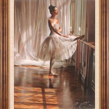 At the Barre - Limited Edition Hand Embellished Giclee on Canvas by Rob Hefferan