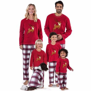 2018Christmas Family Pajamas Set Warm Adult Kids Girls Boy Mommy Sleepwear Nightwear Clothes Christmas Matching Family Outfits