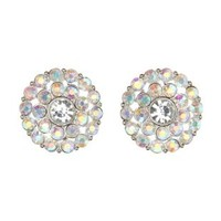 Iridescent Rhinestone Statement Stud Earrings