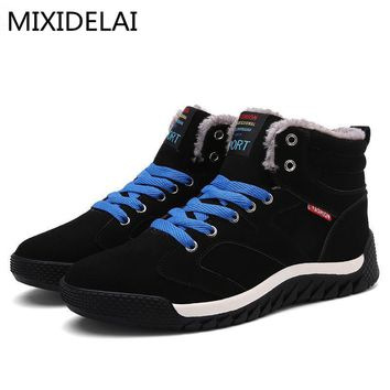 Hot Sale 2017 Fashion Men Winter Snow Boots Keep Warm Boots Plush Ankle Boot Snow Work Shoes Casual Men's Snow Boots Size 39-48