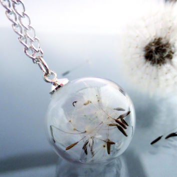 Dandelion necklace captured forever: Make A Wish Seed glass orb beadwork silver Flower Botanical