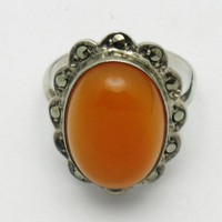 STERLING GERMANY Carnelian Marcasite Vintage Ring Sz 5.5