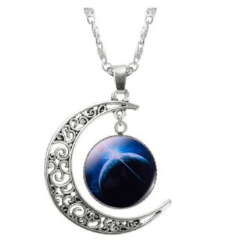 Choker Necklace Glass Galaxy Lovely Pendant Silver Chain Moon Necklace