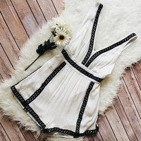 Shiloh Embroidered Black and White Romper
