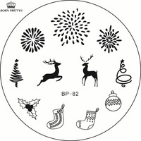 New Christmas Stamping Plate BP-82 Xmas Tree Deer Nail Art Stamp Template Fireworks Image Stamp Plate BP82 #23265