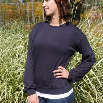 Bubble Sleeve Sweatshirt - Navy