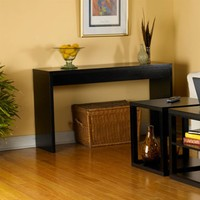 Contemporary Espresso Black Wood Grain Sofa Table