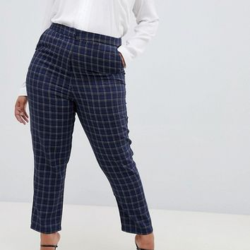 Fashion Union Plus Check Cigarette Pants Two-Piece at asos.com