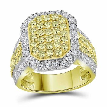 14kt Yellow Gold Women's Round Canary Yellow Diamond Rectangle Cluster Ring 2-1-3 Cttw - FREE Shipping (US/CAN)