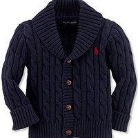 Ralph Lauren Baby Sweater, Baby Boys Shawl Collar Cable Knit Cardigan - Kids Baby Boy (0-24 months) - Macy's