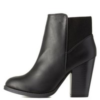 Black Elastic-Back Chunky Heel Booties by Charlotte Russe