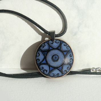 Wood Art, Short Leather Cord Necklace, Hand Painted Pendant, Cobalt Blue Jewelry, Wooden Necklace,  Heart Design, Heart Mandala by Artdora