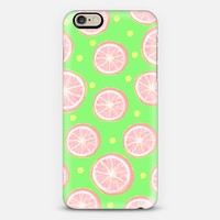 Pink Grapefruit and Dots (green) iPhone 6 case by Lisa Argyropoulos | Casetify