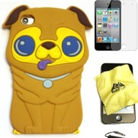 Bukit Cell ® BROWN 3D Dog Soft Silicone Skin Case Cover for iPod Touch 4 4G 4th Generation + BUKIT CELL Trademark Lint Cleaning Cloth + Screen Protector + METALLIC Touch Screen STYLUS PEN with Anti Dust Plug [bundle - 4 items: case, cloth, stylus pen and s