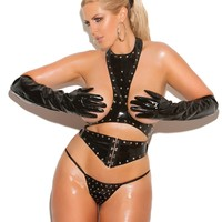 Plus Size Vinyl Studded Top, Waist Cincher and G-String
