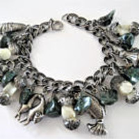 Asian Charm Bracelet, Adventurine Stones, Mother of Pearl Orbs, Charm Artifacts, Silver Tone Metal, Cha Cha Bracelet