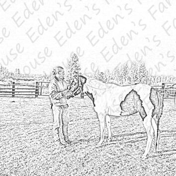 Cowboy and his horse Illustration, digital download, farm, paint horse, digital copy, digital drawing, art, graphic, country