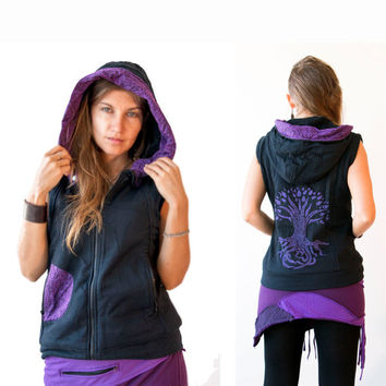 Sleeveless Hoodie with lining - Psy Jacket - Tribal  - Elf  - Pixie Hood - Women  - Vest