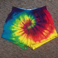 Rainbow Tie dye short shorts festival or rave clothing