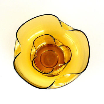 Anchor Hocking Glass Honey Gold Bowls Set Vintage 1960s Accent Moderne Chip n Dip Bowls