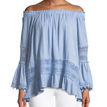 Lumie Off-The-Shoulder Mixed-Lace Blouse