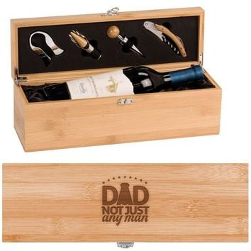 Gold Medal Dad Wine Box - One Bottle Set with Tools