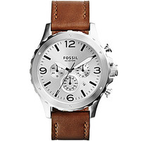 Fossil Men's Nate Eggshell Dial Tan Leather Strap Chronograph Watch