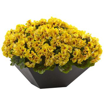 Silk Flowers -Yellow Geranium With Black Planter Artificial Plant