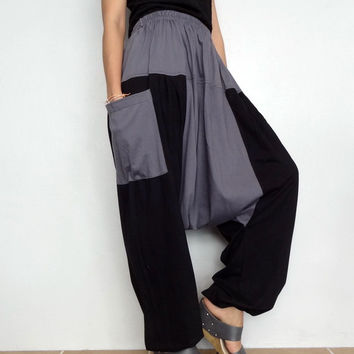 Black two tone Drop crotch long trouser,Unisex harem pants unique cotton blend (Drop pants-03).