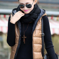 Hooded Zip Up Padded Vest Jacket