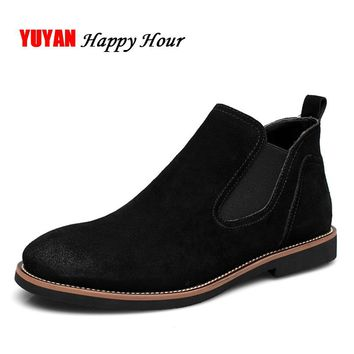 Suede Leather 2017 Autumn Winter Shoes Men Chelsea Boots Fashion Men's Boots Male Brand Ankle Boots Warm for Cold Winter K074