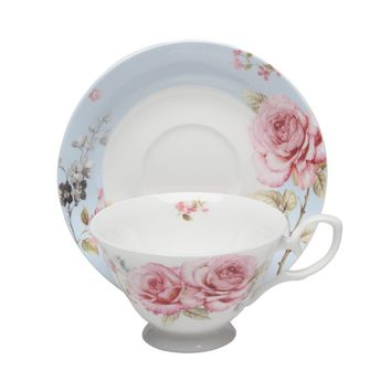 French Rose Fine Bone China Tea Cup (Teacup) and Saucer Set