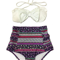 White Bow Top and Purple Flora Flora Highwaisted High Waisted Waist High-Waist High-rise Swimsuit Swimwear Bikini Bathing suit suits S M